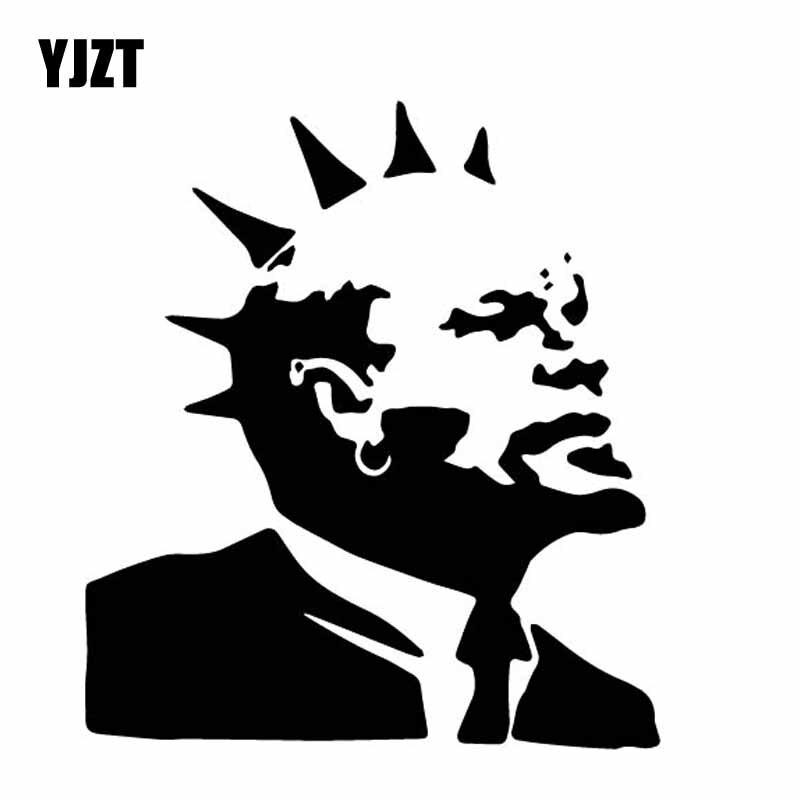 YJZT 14CM*15.8CM Vinyl Decal Punk Rock Vladimir Ilyich Ulyanov Head Portrait Car Sticker Black/Silver C27-0220