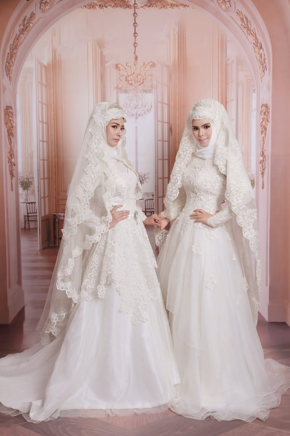 Arabic Sequins Beaded Lace High Neck Muslim Wedding Dress With Hijab muslim wedding dress Arabic Sequins Beaded Lace High Neck Muslim Wedding Dress with Hijab