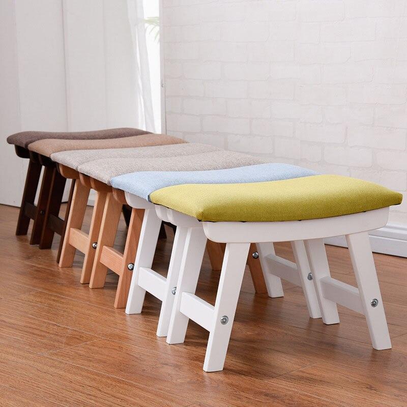 Tabouret en bois massif maison porte changement chaussures tabouret tissu nordique surface souple pouf salon table basse tabouret mx6011008