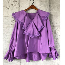 e1cec32dc58 RUGOD Spring Solid Women Blouse Fashion Ruffles Flare sleeve white Shirts  Purple Blouses tops Ball Party