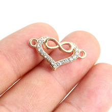 TJP 10pcs Antique Gold Tone Heart Infinity Connectors Charm Pendants Hollow Open for DIY Bracelet Jewelry Making Findings 13x23m