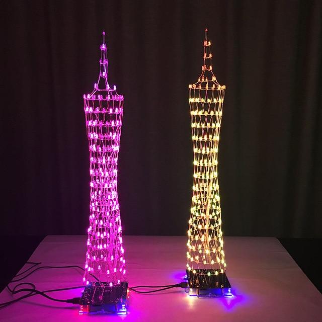 LEORY 1PCS DIY 3D LED Light Cube Kit Music Spectrum Diy Electronic Kit 16x16 268 LED With Remote Control Tri-color Tower Kit