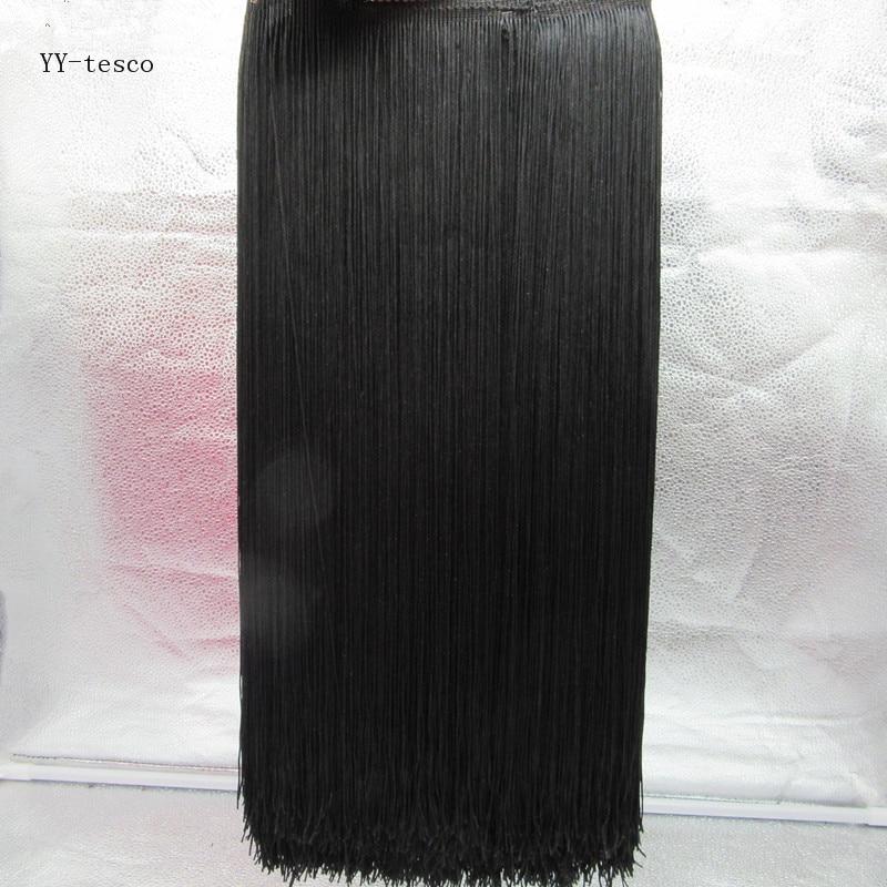 Wholesale 1 Yards 50cm Wide Fringe Trim Tassel Lace Black Fringe Trimming Lace For DIY Latin Dress Stage Clothes Accessories
