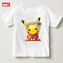 2019 Arrival Print Chudori Pikachu Children Tshirt Boys and Girls Summer Casual Tops Kid Soft White T-shirt