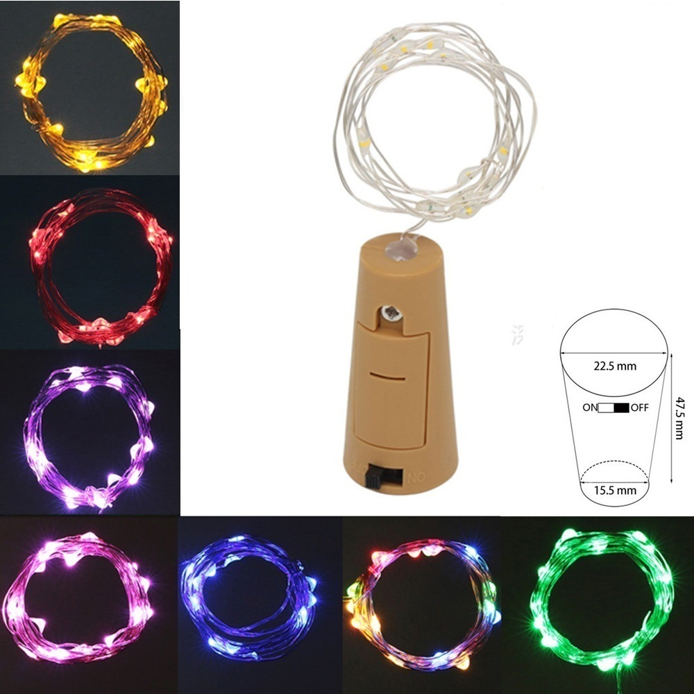 5X-2M-20-LED-Bottle-Stopper-String-lights-Silver-Wire-Fairy-Light-Glass-Wine-Cork-Shaped