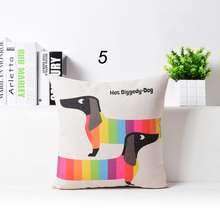Linen Cotton Rainbow Sausage Dogs Custom Cushion Covers Color Dachshund Pillows Throw Cases kids Gift