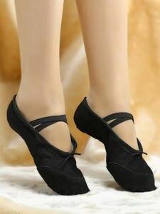 USHINE Ballet-Dance-Shoes Flat-Slippers Teacher Canvas Pink White Girls Black Women Children