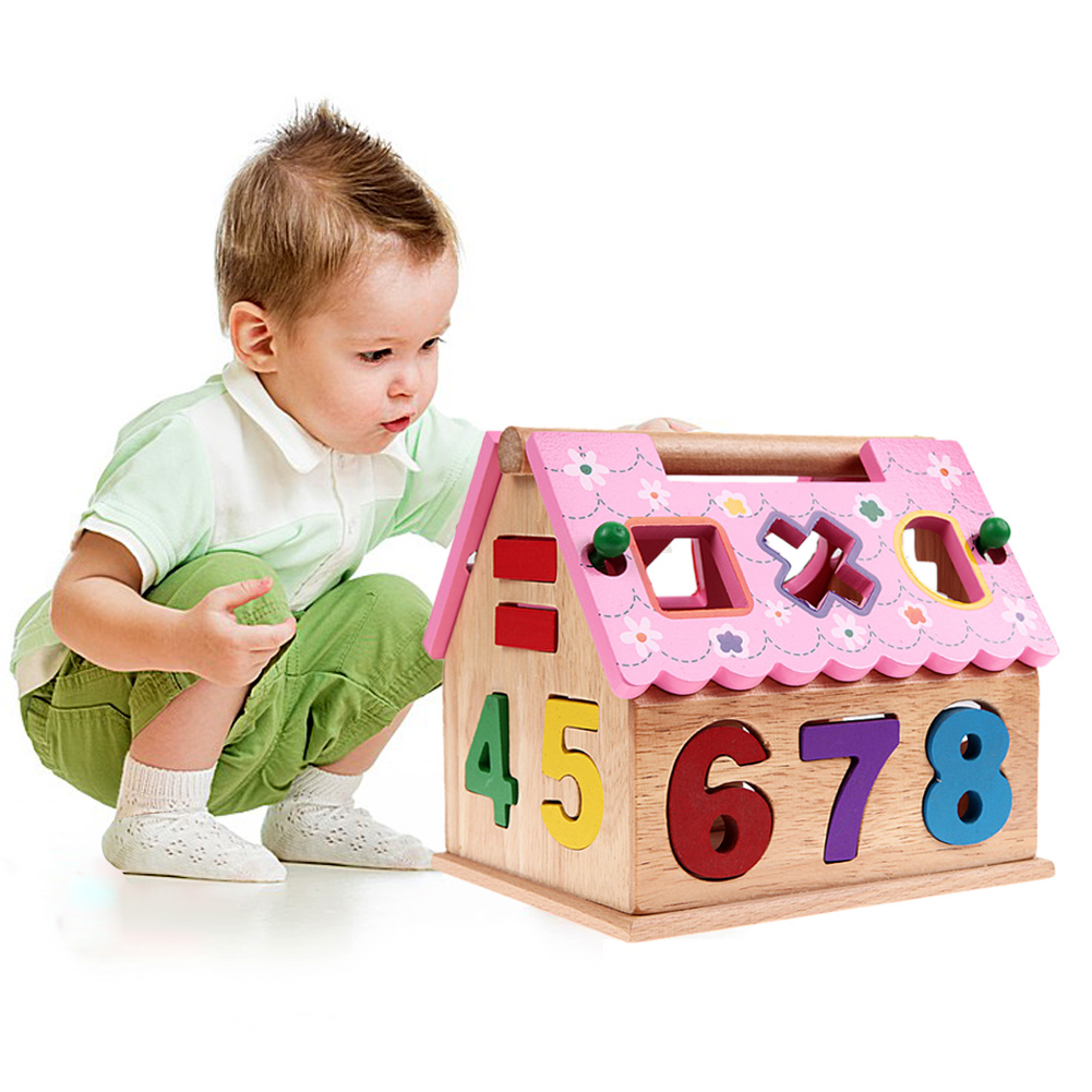 New Kids Toys Shape Sorting Puzzle Board Smart House Geometric Nesting Stacker Baby Toddler Wooden Toys for Children