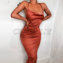 CUERLY 2019 summer women long dress satin sleeveless bandage backless elegant party sexy hollow out