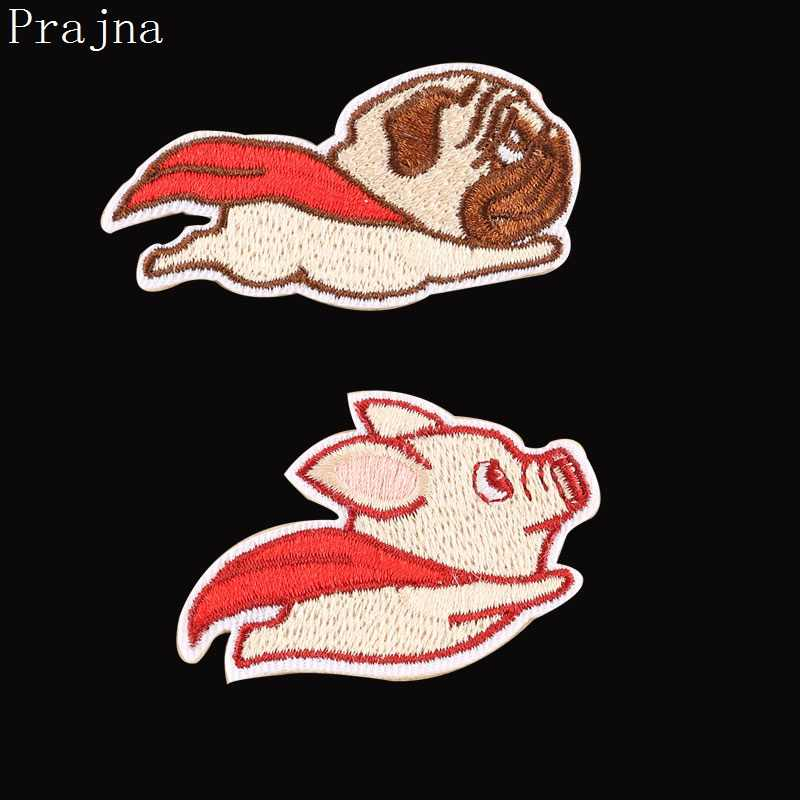 Prajna Animals Fabric Dog Pig Patch Iron On Stickers Cute Flying Animal Embroidered Patches Sewing Appliques For Clothing Decor