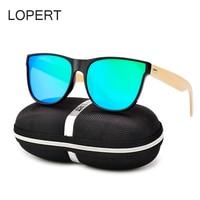 LOPERT Square Wood Sunglasses Men Bamboo Glasses Women Brand Design High Guality Mirror Sun Glasses Oculos