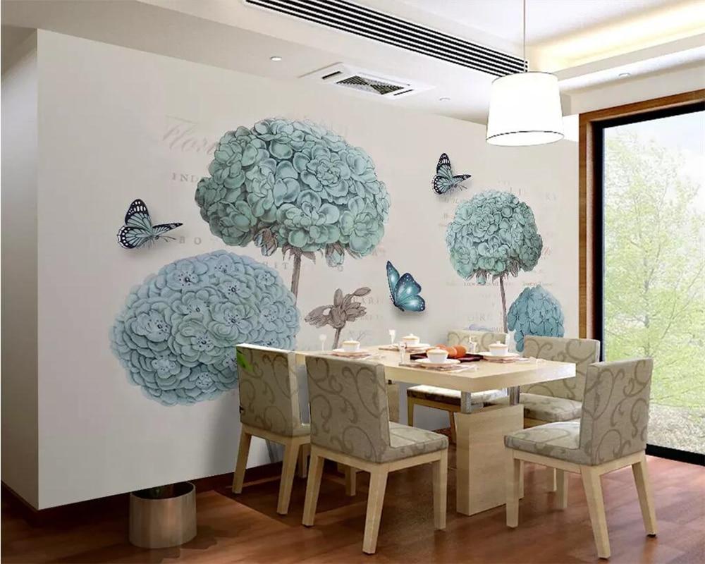 beibehang Custom wallpaper European 3D hydrangea butterfly 3d wallpaper background living room bedroom TV background wall murals in Wallpapers from Home Improvement