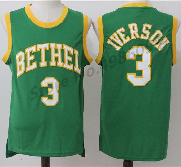 3d08402a8e84  3 Allen Iverson Bethel High School Retro Basketball Jersey Mens Stitched  Jerseys-in Basketball Jerseys from Sports   Entertainment on Aliexpress.com  ...