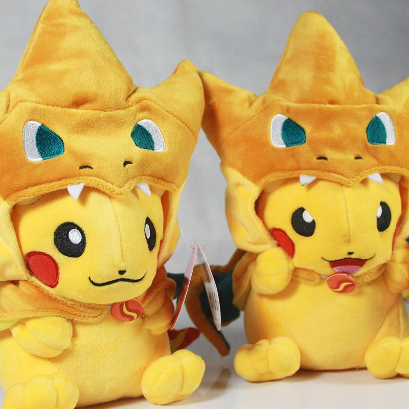 28cm Pikachu Cosplay Mega Charizard X&Y Plush Toys Cute Cartoon Plush Soft Stuffed Animals Toys Gifts for Kids mymei pokemon plush cosplay pokemon pikachu mega lugia stuffed animals dolls toy 23cm