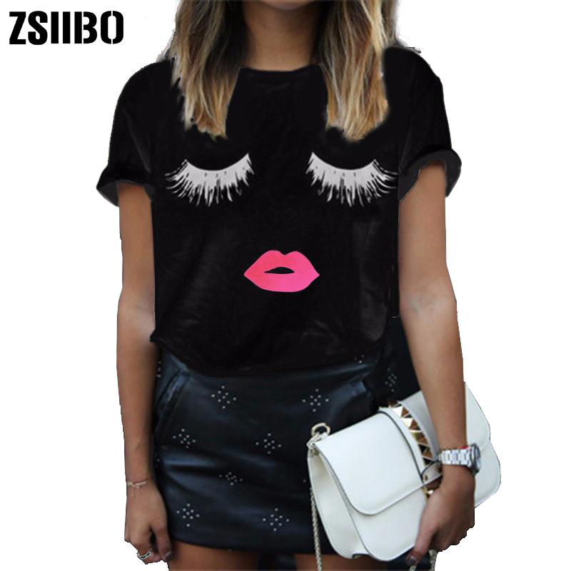Fashion Eyelashes Lips Novelty Summer Woman Girl T Shirt Solid Color Tee Female Casual Short Sleeves Tops Cute Print T-Shirt