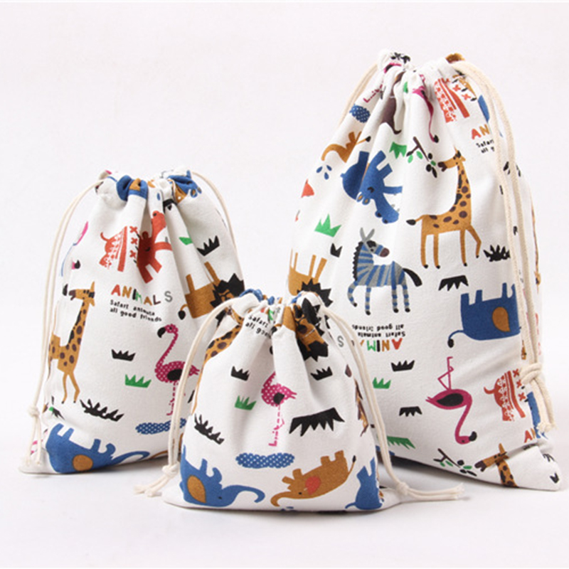 Cartoon Animals Printed Storage Bags Baby Clothing Kids Toys Organizer Drawstring Candy Bags Cotton Linen Jewelry Cosmetic Pouch