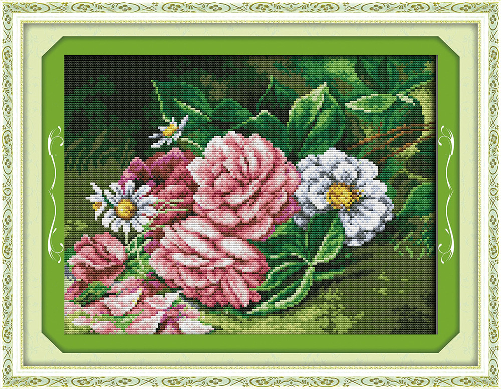 Flowers 3 cross stitch kit aida 14ct 11ct count printed canvas stitches embroidery DIY handmade needlework