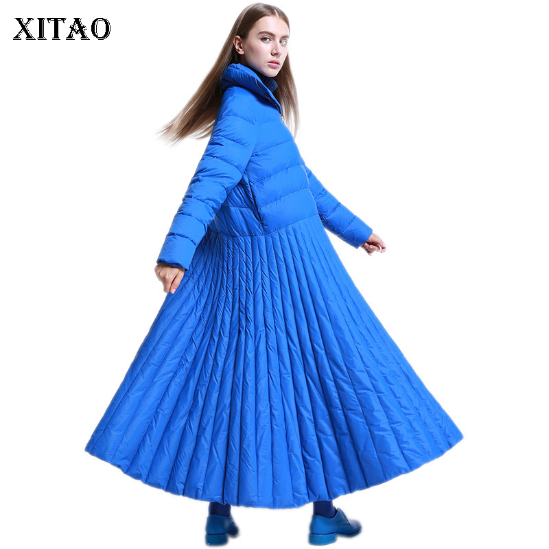 [XITAO] 2018 Winter Korea Fashion New Arrival Women Full Sleeve White Duck   Down   Solid Color Skirt Casual Long   Down     Coat   ZLL1891