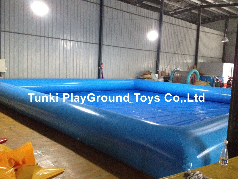 Durable tarpaulin rectangular above ground swimming pool with water toys floats /water aqua pool water tank 10X10X0.65M