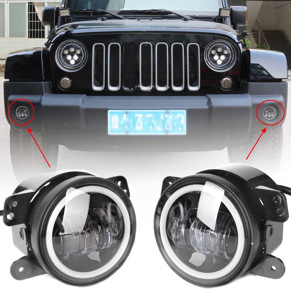 2PCS DOT 4Inch Round Wrangler Led Fog Lights 30W 6000K White Halo Ring DRL Off Road Fog Lamps For Jeep Wrangler JK TJ LJ 4 inch 60w led fog lights w white halo ring drl for jeep wrangler 97 15 jk tj lj off road fog lamps
