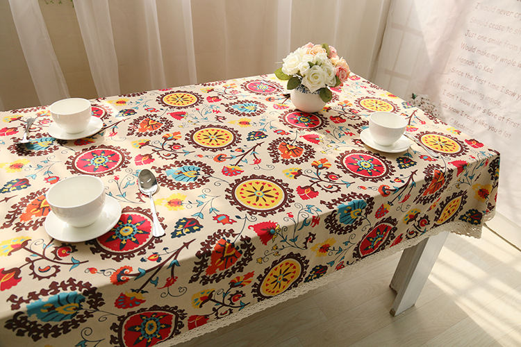National wind explosion models cotton linen tablecloths Sun flower table cloth tablecloth Table Covers for Wedding Party Home 17