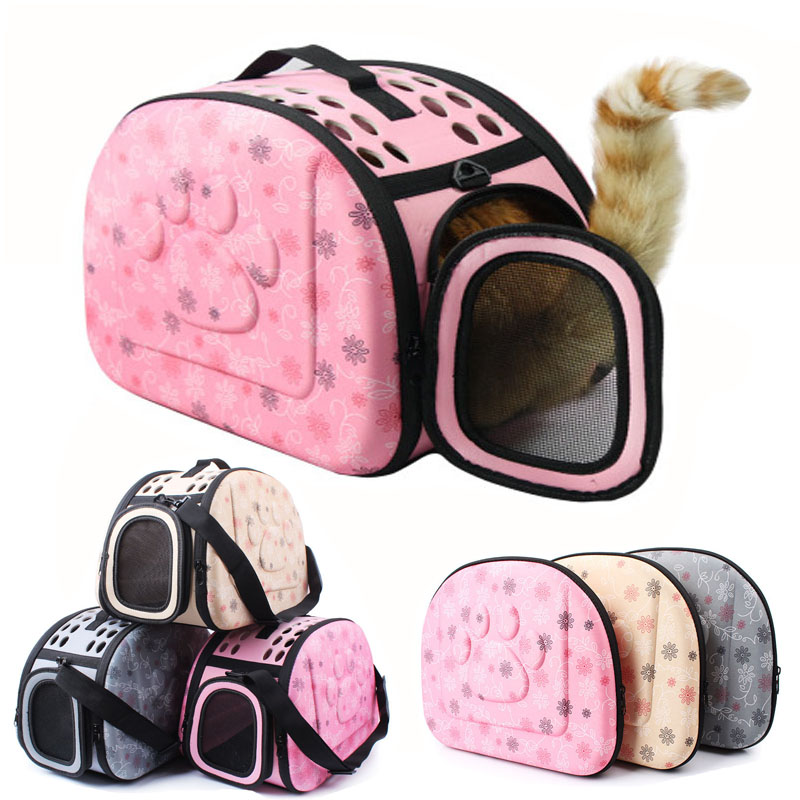 New Style Eva Small Pet Cat Carrier Bag Breathable Pet Paw Printing Folding Grid Pet Hand Shoulder Bag For Small Dog And Cats