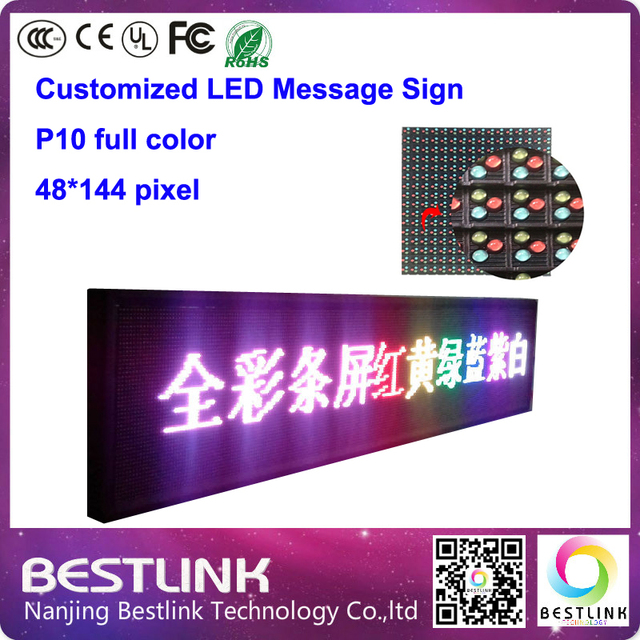 48*144 pixel p10 outdoor led message sign board led moving sign with p10 outdoor led display module for taxi top led panel board