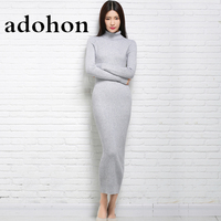 adohon 2017 womens winter Cashmere sweaters and auntmun women knitted Pullovers High Quality Long Female Trutleneck Ankle-Length