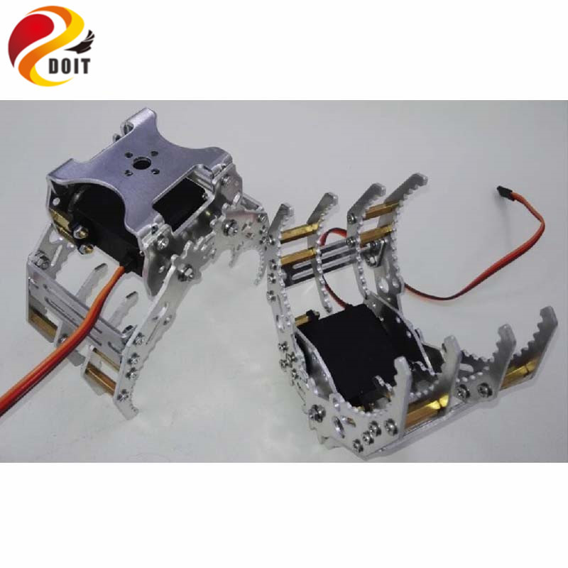 DOIT Metal Robotic Arm Gripper Robot Manipulator Paw Mechanical Claw Compatible with MG996-R For DIY Robot Tank Car Chassis Toy official doit 5dof robot arm mechanical claw 5pcs high torque servos large metal base thicker all metal plate robot parts