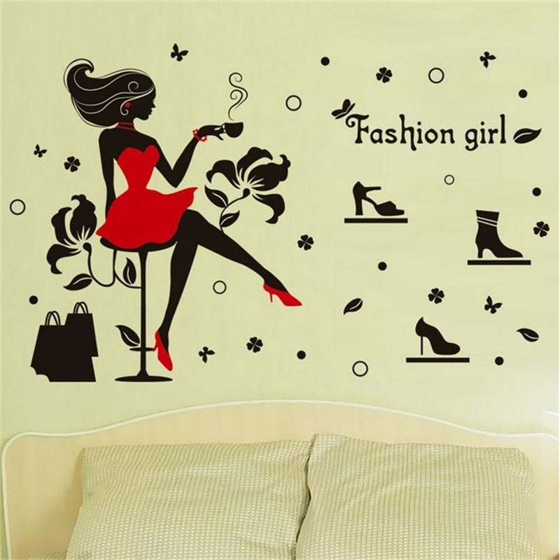1Pcs Fashion Girl Vinyl Wall Stickers For Kids Rooms Living Room ...