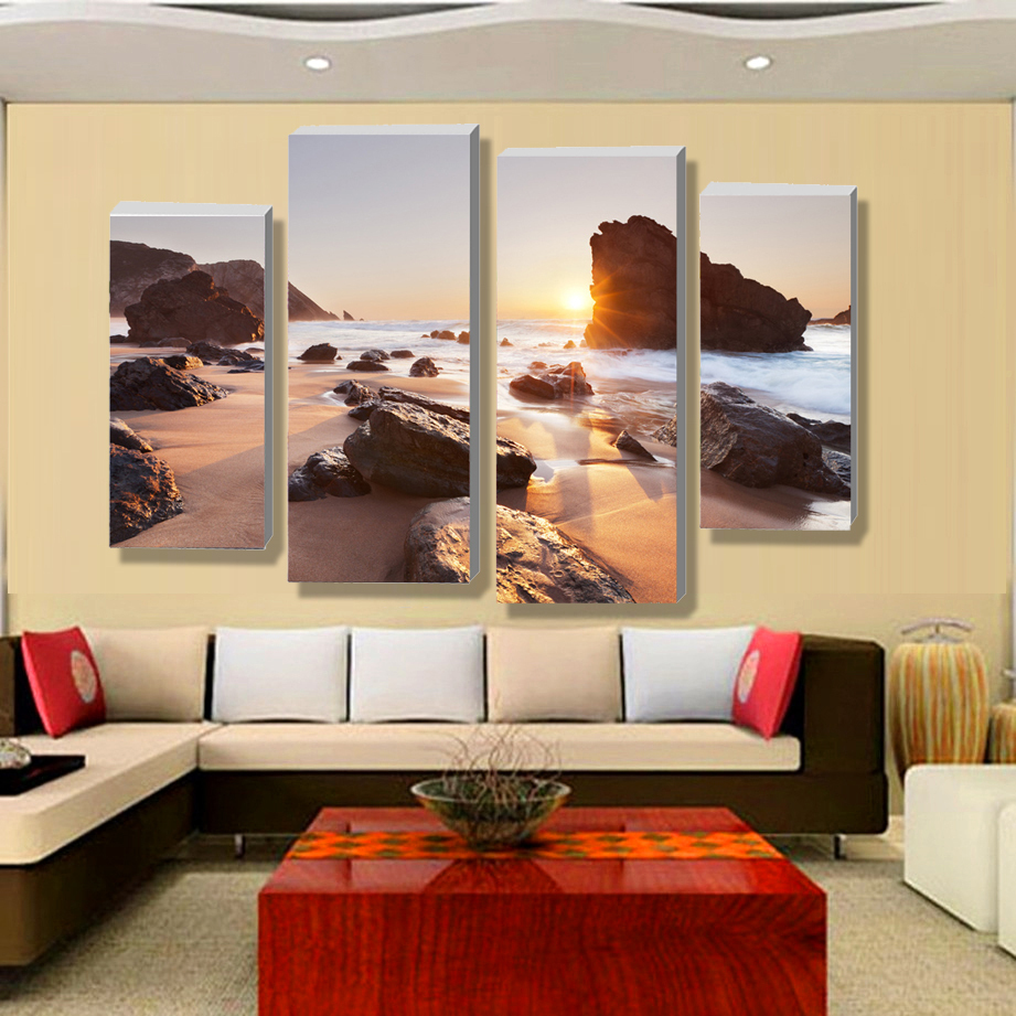 online get cheap contemporary beach decor aliexpresscom  - four sets of contemporary wall art canvas print on canvas poster beachseascape home decoration