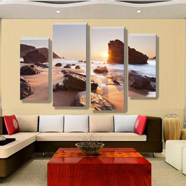 € 18.08 |Quatre ensembles de mur contemporain toile d\'art sur toile affiche  de paysage marin de plage, décoration de la maison dans Peinture et ...