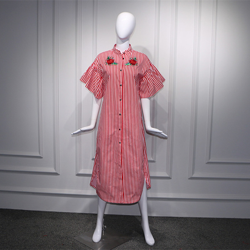 Summer Women Floral Embroidery Shirt Casual Dress Loose Flare Sleeve Ruffle Dress Red White Striped Mid-Calf Dress