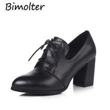 все цены на Bimolter Genuine Leather Pumps New Spring  Thick High Heels Round Toe Square Heel Female Shoes Casual Office Lady Shoes NB032 онлайн