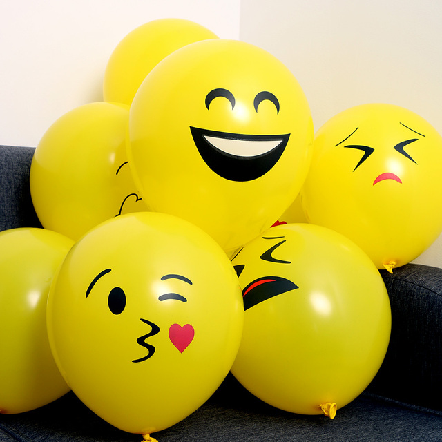 20pcs Emoji Balloons Smiley Face Expression Yellow Latex Balloons Party Wedding Ballon Cartoon Inflatable Balls  Party Decor