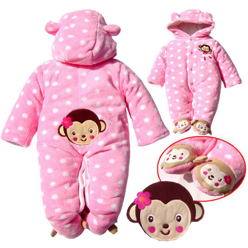 Infantil Monkey Pink One Piece Baby Girl Romper Jumpsuit Cotton Padded Warm Baby Winter Clothes Macacao Bebe Infant Clothing puseky 2017 infant romper baby boys girls jumpsuit newborn bebe clothing hooded toddler baby clothes cute panda romper costumes