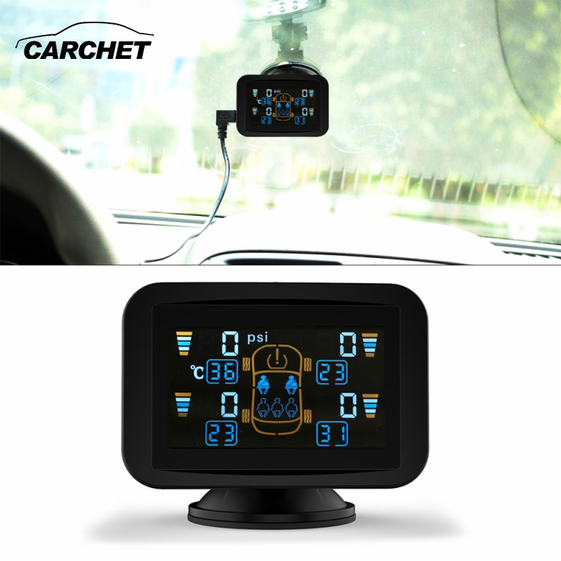 CARCHET TPMS Tyre Pressure Monitoring Intelligent System+4 External Wireless Sensors LCD Sucker Display Car Auto Tire Monitor tpms tp620 car tire tire pressure alarm car tire diagnostic tool support bar and psi tire pressure monitor car electronics