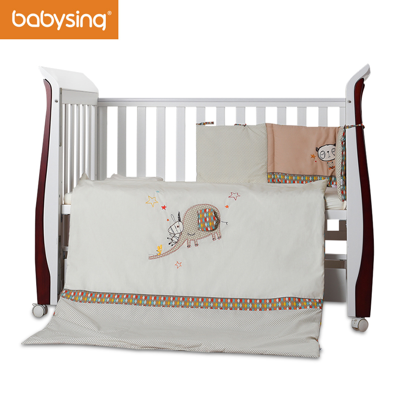 Baby Nursery Bedding Set Elephant Embroidery 100% Cotton Soft Toddler Bedding Quilt, Bumper Pad new chatora cat itazura automatic kitty cat steal coin piggy bank savings box white