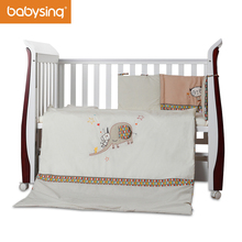 Baby Nursery Bedding Set Elephant Embroidery 100% Cotton Soft Toddler Bedding Quilt, Bumper Pad
