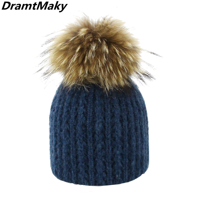 Women Winter Hat For Girl Knitted Hat Keep Warm   Beanie   Gorro Wool Rabbit Fur Cashmere Blend Brand Pom Pom Hat   Skullies     Beanies