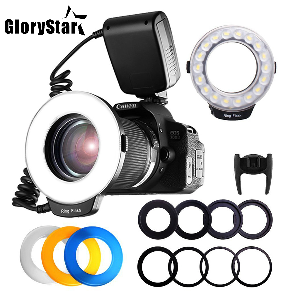 18pcs SMD LED Macro Ring Flash Light for Pentax Canon Nikon Sony Olympus Panasonic Speedlite LCD Display CRI 90 RF 600D