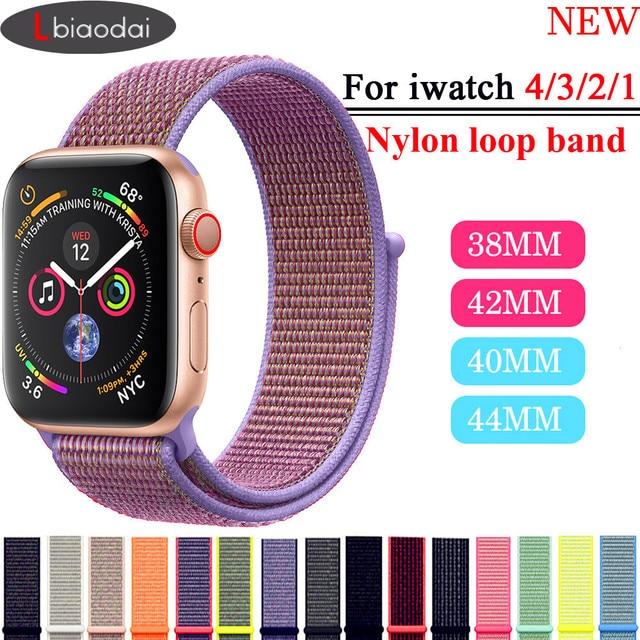 Lbiaodai Спортивная петля ремешок для Apple Watch группа iwatch Группа 42 мм 38 44 40 для Apple watch 4 3 correa тканый браслет нейлон