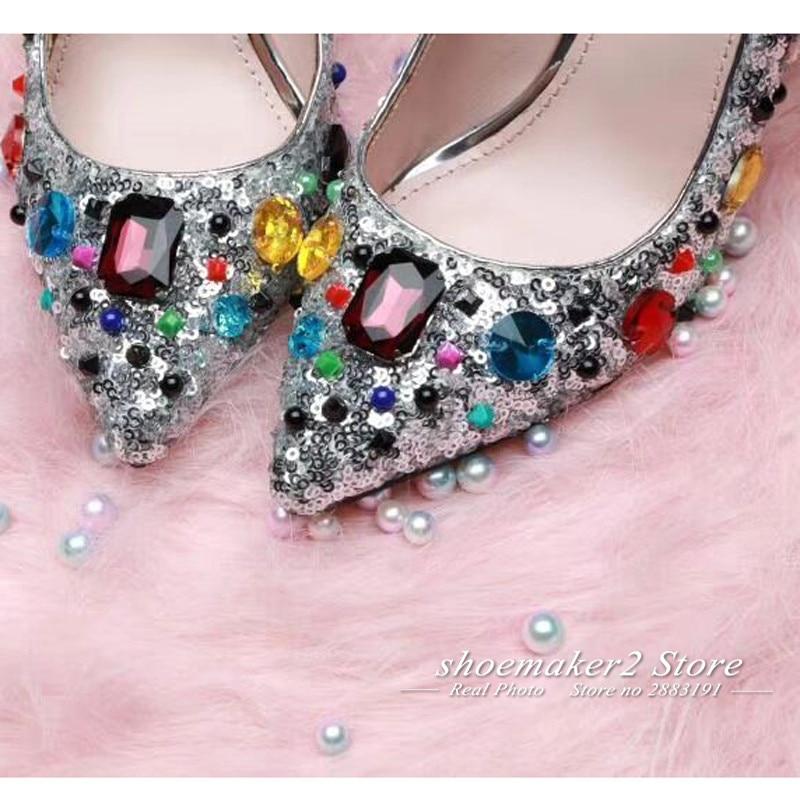 Diamant Chaussures Mélangée Bout Mariage Luxe Date Paillettes Pointu Femmes Talons Couleur Femme De Argent Bling Hauts Strass Y6AxnAvOz