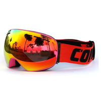 Copozz Sking Snowboard Goggles Double Lens UV Anti Fog Ski Goggles Pink Orange Yellow
