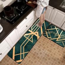 Fashion Nordic luxury Golden lines Kitchen non-slip mat Wooden floor protection carpet Bedroom bedside rug plush door