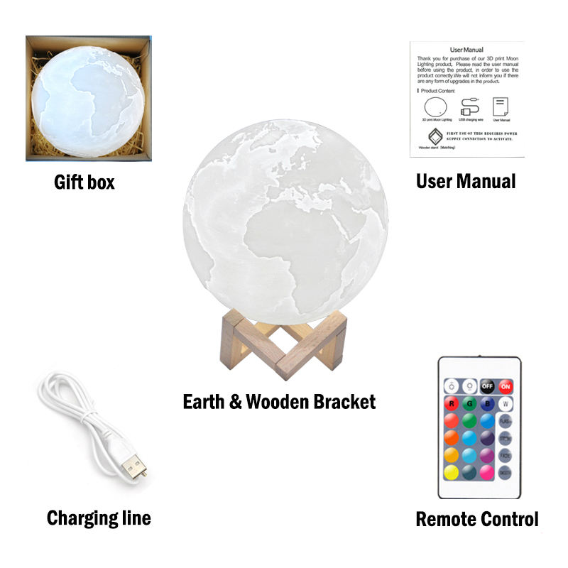 3D Print 16 Color Led Earth Moon Lamp Colorful With Magnetic Wood Bracket Remote Control Rechargeable Usb Night Light Best Gift