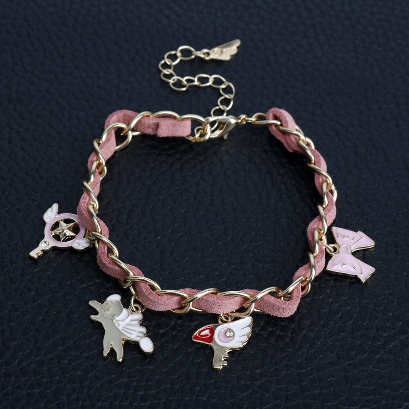 Anime Jewelry Card Captor Sakura Bracelet Sweet angel wing Wand Bangles Bracelets for Women Wristband a Bracelet bracelet