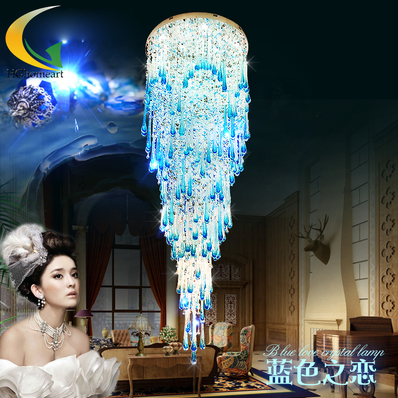 Crystal chandelier crystal lamp lights Au stairs long hanging led double spiral staircase hanging villa living room