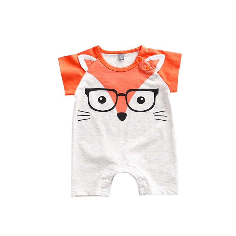 Newborn Summer Short Sleeve Romper Baby Boy Girl Jumpsuits Animal Cartoon Fox Glass Baby Rompers Clothes For Babies Clothing cotton baby rompers set newborn clothes baby clothing boys girls cartoon jumpsuits long sleeve overalls coveralls autumn winter