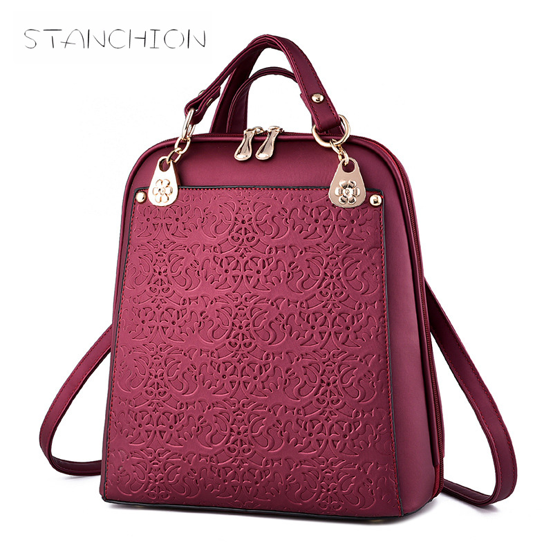 Backpack Faux Leather Women Daily Solid Zipper School bags Embossing Vintage Soft Handle For Teenage Travel